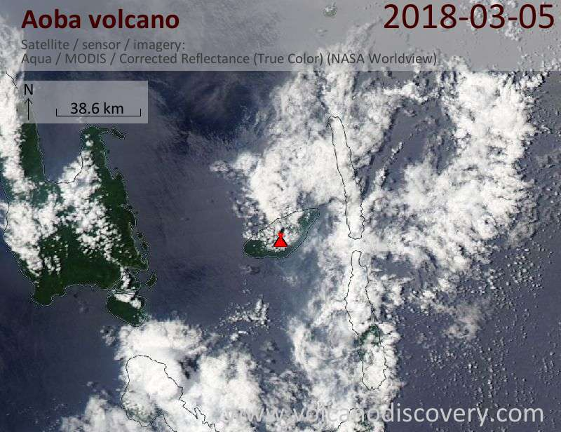 Satellite image of Aoba volcano on  5 Mar 2018