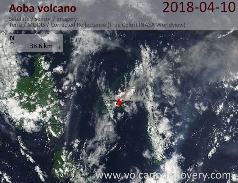 Satellite image of Aoba volcano on 10 Apr 2018