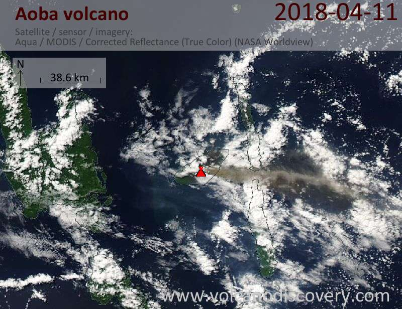 Satellite image of Aoba volcano on 11 Apr 2018