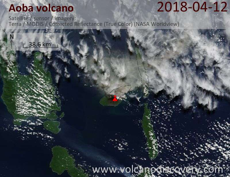Satellite image of Aoba volcano on 12 Apr 2018