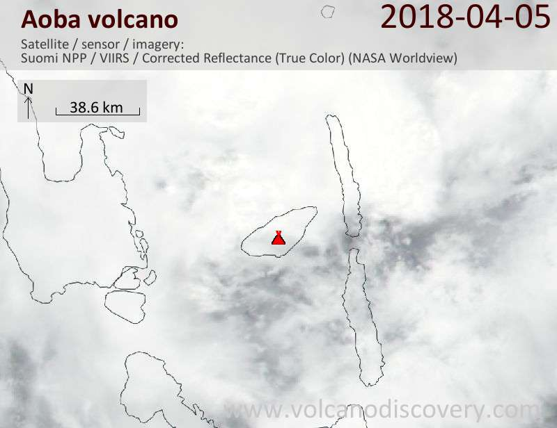 Satellite image of Aoba volcano on  5 Apr 2018