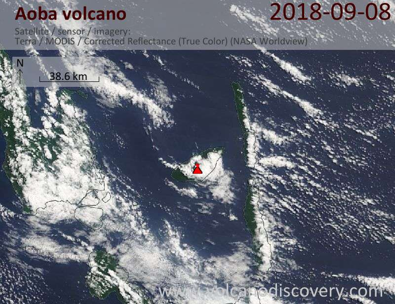 Satellite image of Aoba volcano on  8 Sep 2018