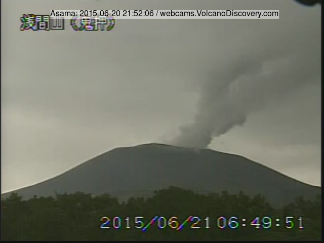 Steam and ash plume from Asama volcano