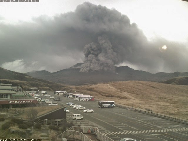 Eruption at Aso volcano Wednesday (Kumamoto university webcam)