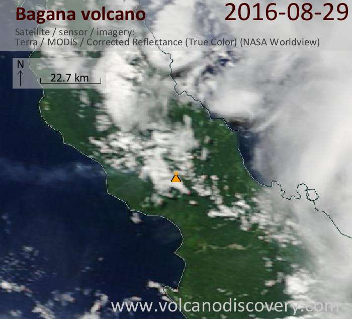 Bagana and its plume of gas/ash seen from Terra satellite today (NASA)