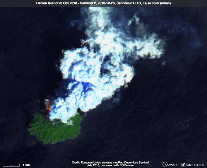 Sentinel satellite image from 23 Oct showing lava flows on Barren Island