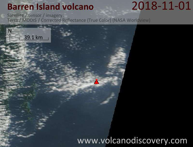 Satellite image of Barren Island volcano on  1 Nov 2018