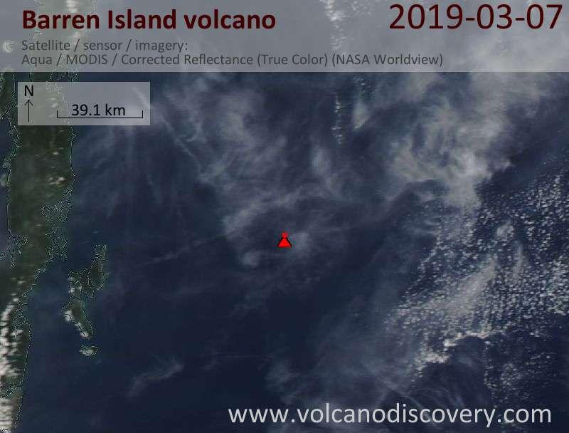 Satellite image of Barren Island volcano on  7 Mar 2019