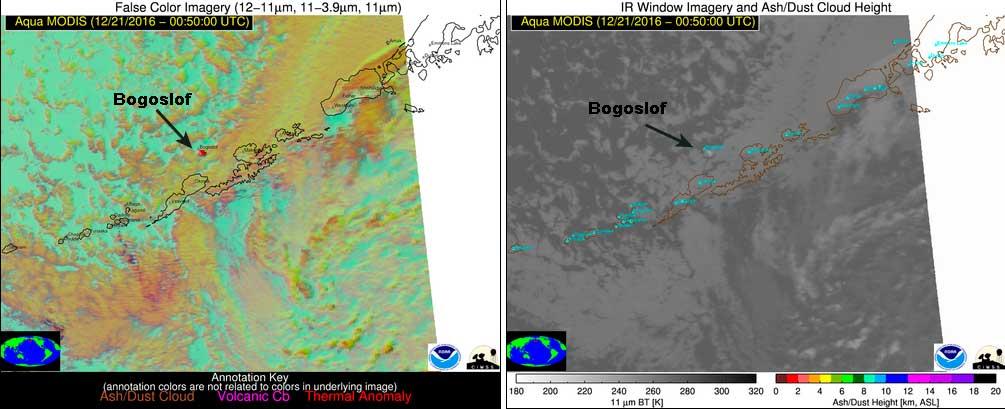 Ash plume from Bogoslof volcano on satellite imagery (image: NOAA/CIMSS)