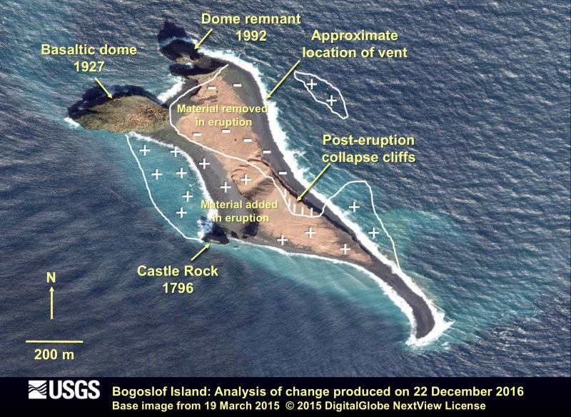 Analysis of shoreline change and vent location from the eruption of Bogoslof volcano. The base image was collected on March 19, 2015 and the analysis was conducted on data from December 22, 2016 after the large explosive eruption on December 21, 2016. Note that the location of the vent for the eruption was underwater or near the shoreline on the NE part of Bogoslof Island. Deposits have enlarged portions of the island and are interpreted to be comprised of coarse-grained volcanic ash and blocks of lava. (image: Burton, Bill; Schneider, Dave / AVO / USGS)
