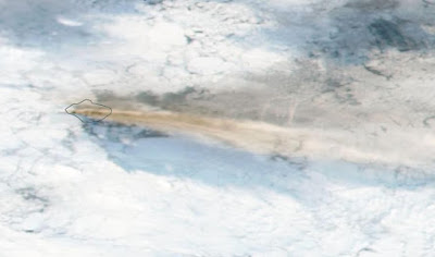 Ash plume from Bristol volcano on Saturday 4 June (image: NASA via South Sandwich Islands Volcano Monitoring Blog)