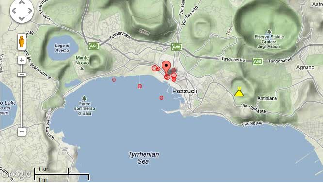Location of recent earthquakes in the Campi Flegrei