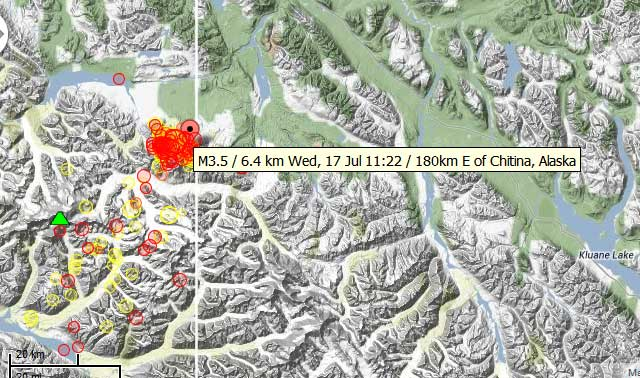 Map of recent earthquakes at Mt Churchill volcano in eastern Alaska