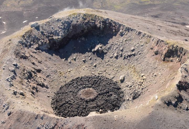 Cleveland Volcano overflight, August 4, 2015. View of lava dome within Cleveland's summit crater, showing concentric rings and radial fractures in dome surface, surrounding elevated, hot dome core (photo by John Lyons, AVO/USGS)
