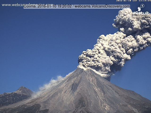 Ash eruption from Colima this afternoon