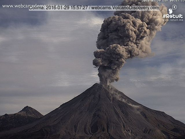 Vulcanian explosion at Colima this morning