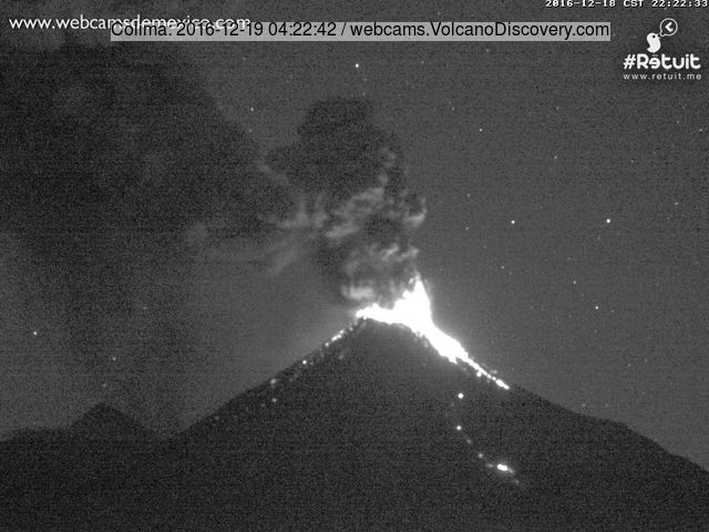 Moderately strong vulcanian explosion at Colima last night