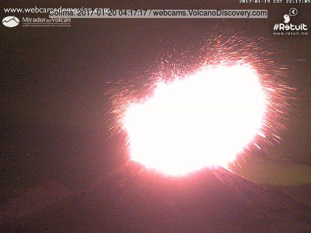 A second into the explosion of Colima on 19 Jan evening