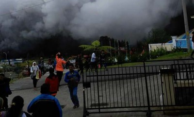 Indonesia aid helicopter crashes after volcano erupts