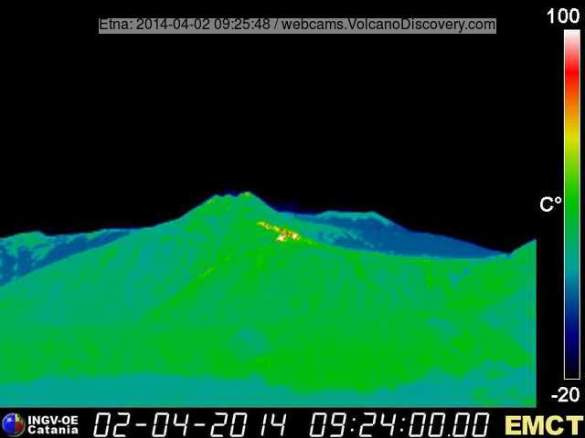 Thermal image of the lava flow (Monte Cagliato webcam, INGV Catania)