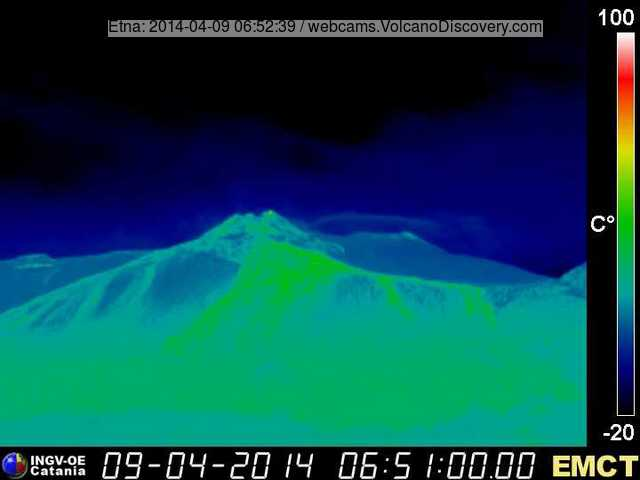 Thermal image of Etna's eastern flank with the New SE crater (Monte Cagliato thermal webcam, INGV Catania)