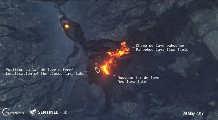 Erta Ale's eruption on SENTINEL 2 satellite imagery on 29 May 2017 (image: SENTINEL2 / ESA-Copernicus data; Composition / annotations: Culture Volcan)