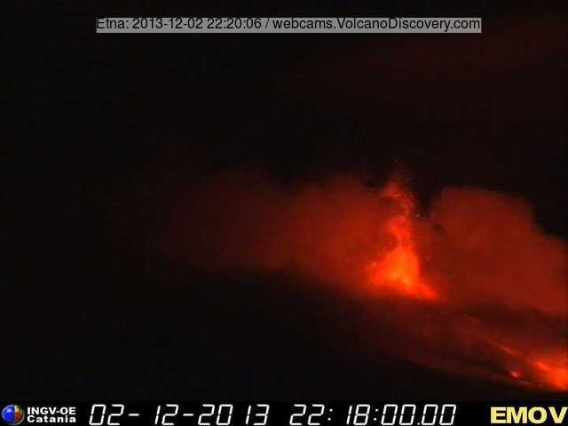 INGV webcam image of Etna's New SE crater during the main phase of the eruption