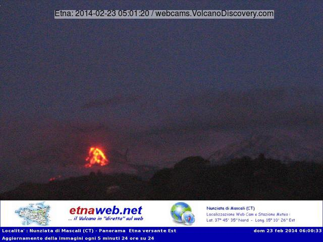 The lava flows at Etna this evening