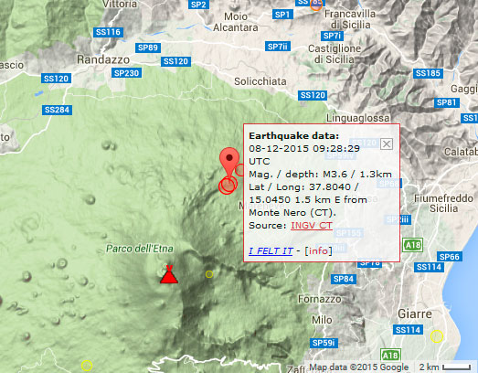 This morning's earthquakes at the Pernicana fault of Etna