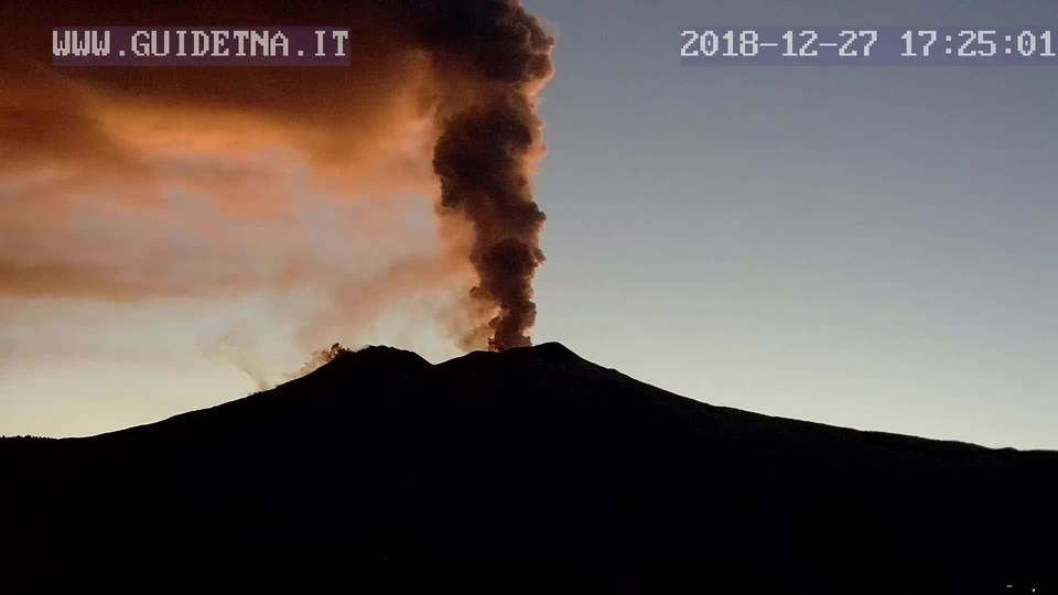 Science News Tall steam and ash plume rising from Etna's Bocca Nuova (GuidEtna webcam)crater