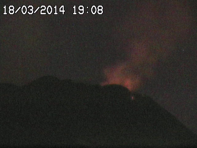 Lava fountain from Etna's New SE crater during the 9th paroxysm (RadioStudio7 webcam)