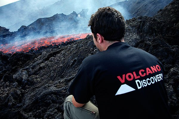 Adam watching the flowing lava...