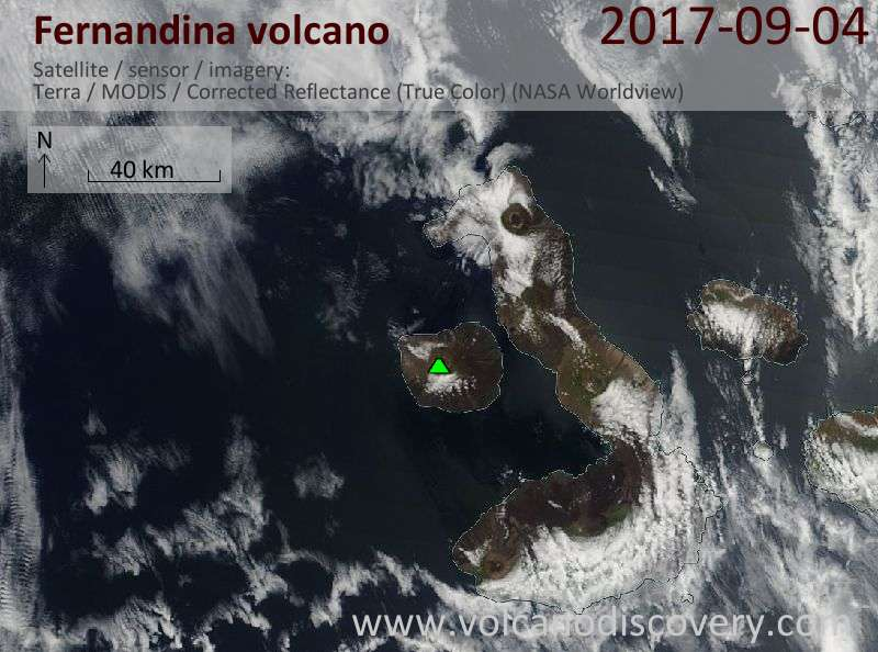 Satellite image of Fernandina volcano on  4 Sep 2017