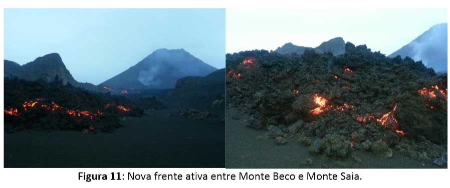 The lava flow at Fogo between Monte Beco and Monte Saia cones on 21 Jan (OVCV)