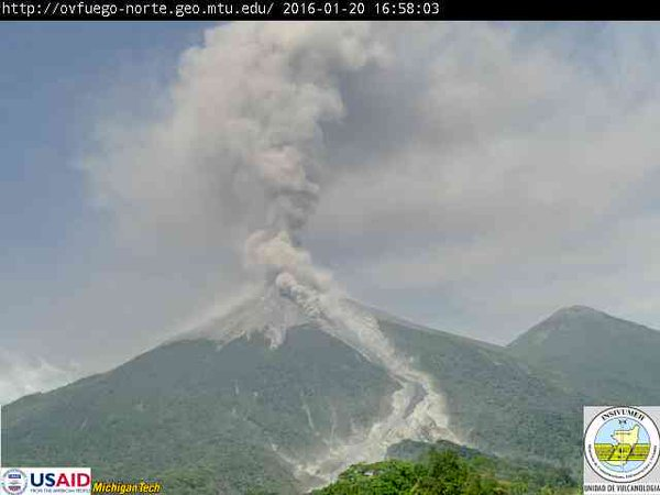 Small pyroclastic flow at Fuego volcano this morning