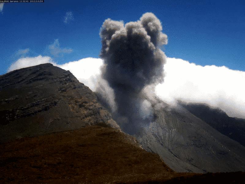 Ash explosion on 28 Oct (INGEOMINAS)