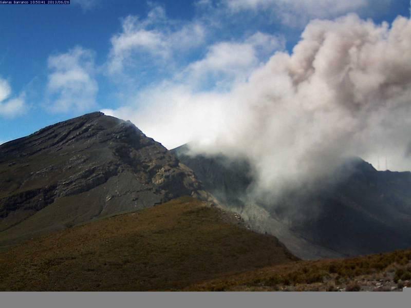 Ash emissions from Galeras on 26 June (INGEOMINAS)