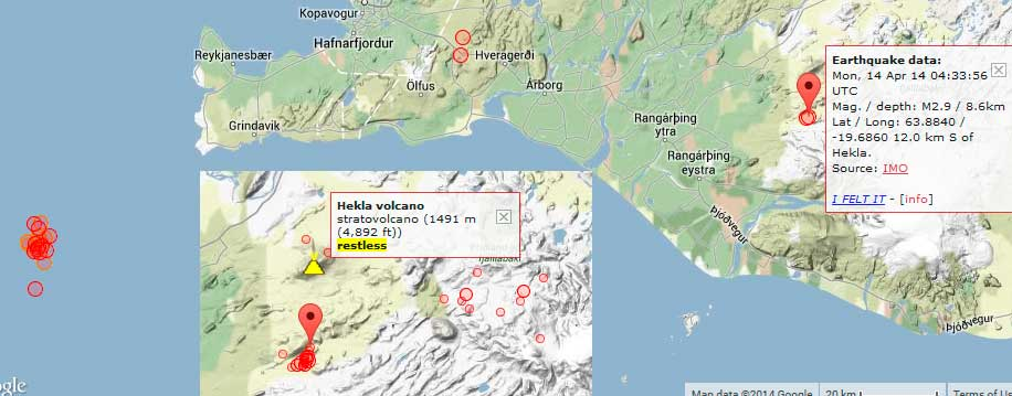 Earthquakes in southern Iceland during the past 48 hours