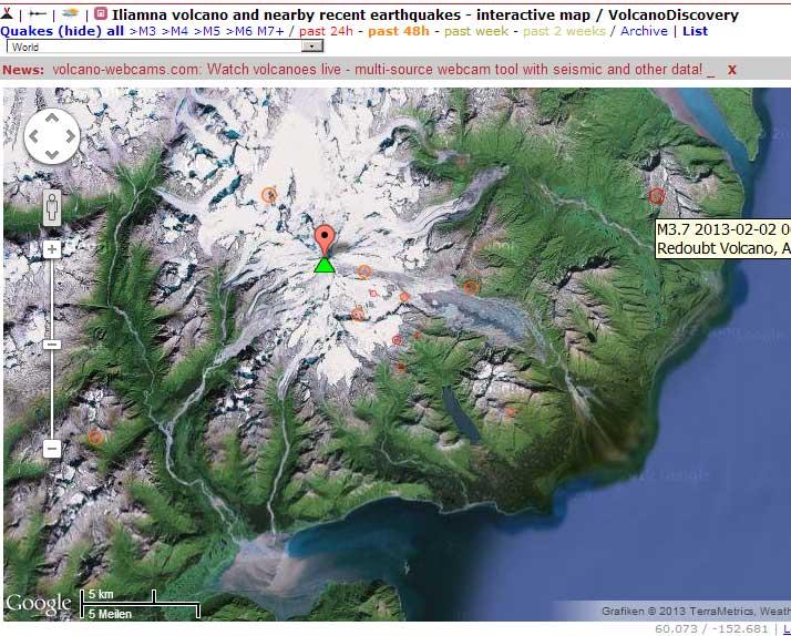 Iliamna volcano Alaska earthquake swarm VolcanoDiscovery