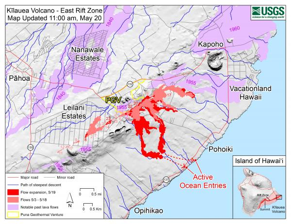 Kilauea volcano update: Map of current lava flows / VolcanoDiscovery