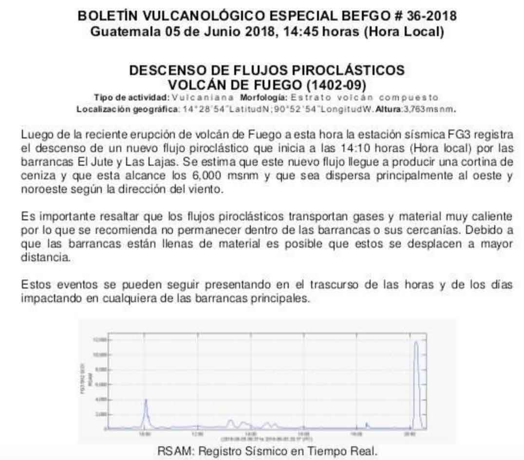The special bulletin about the new pyroclastic flow on Fuego yesterday