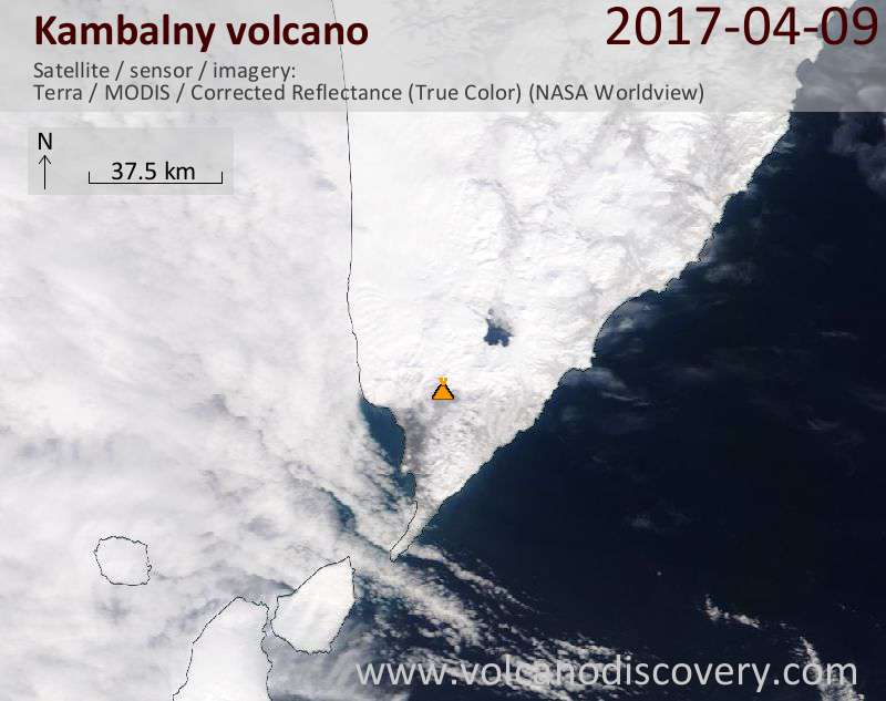 Satellite image of Kambalny volcano on  9 Apr 2017