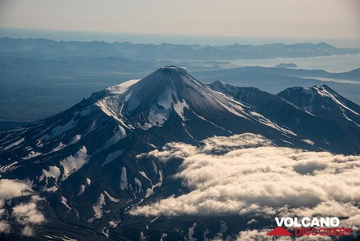 Avachinsky volcano seen from the air when arriving in Petropavlovsk
