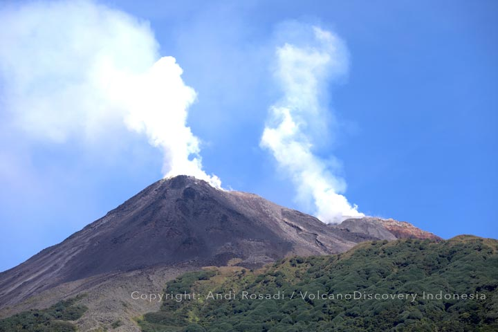 The still active lava flow front from Karangetang volcano as seen yesterday