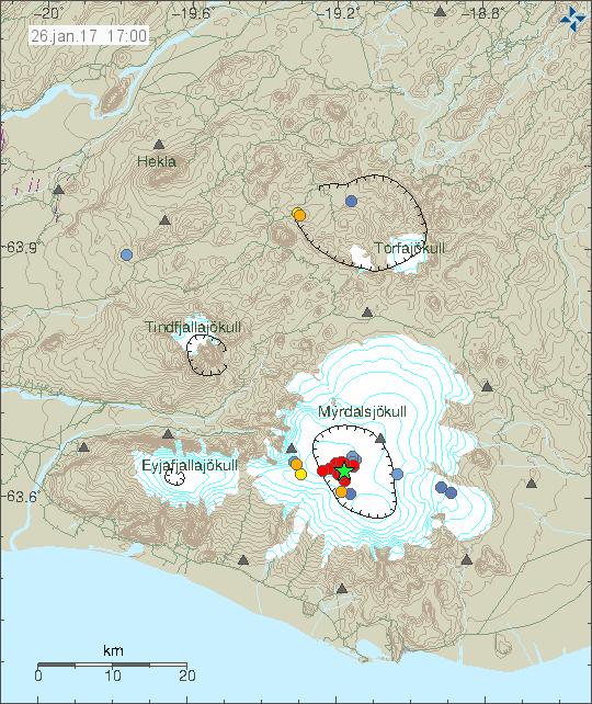 Recent earthquakes under Katla volcano as of 26 Jan 2017 (image: Icelandic Met Office)