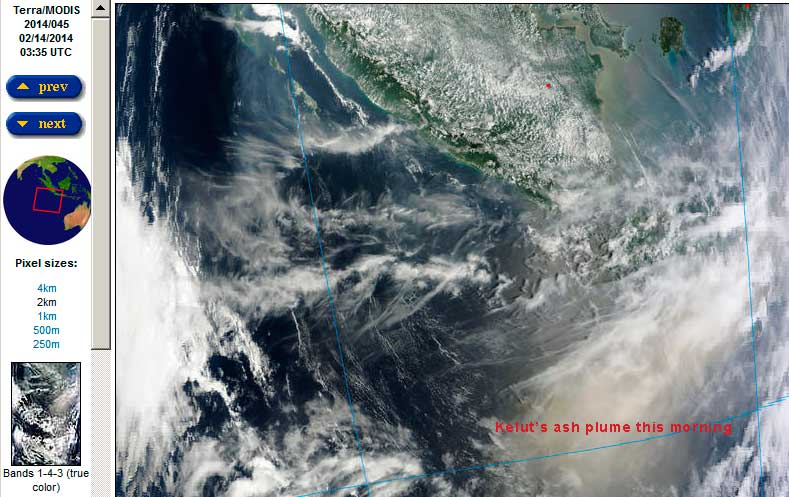The ash plume of Kelut over the Indian Ocean (NASA earth observatory)