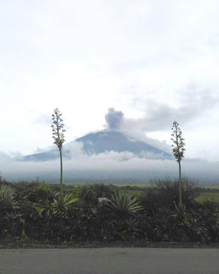 Ash plume from Kerinci volcano yesterday (image: The Lonely Ranger @edelweisbasah / twitter)