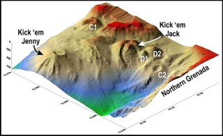 Vertically exaggerated SeaBeam image of the submarine volcano. Credit: NOAA, Seismic Research Institute.