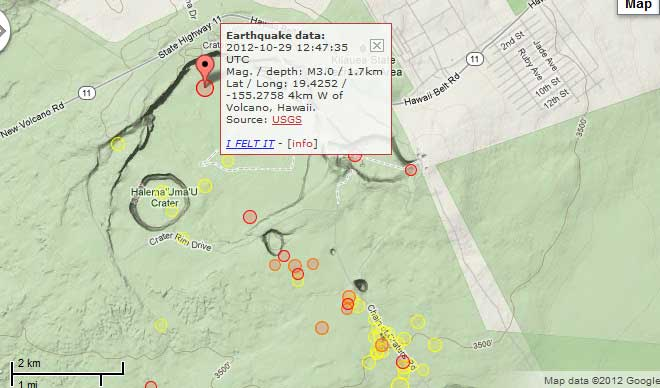 Current earthquakes (red and orange=past 48 hours, yellow=past week) near the summit of Kilauea volcano
