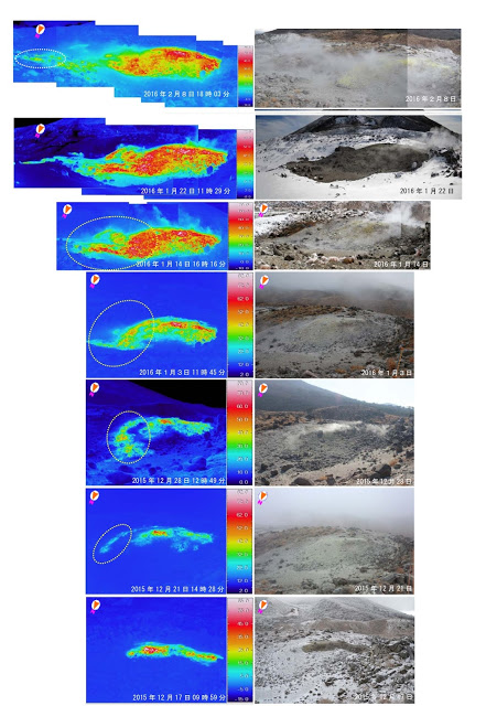 Evolution of the fumarole field of Iwo crater between Dec 2015 and Feb 2016 (JMA)